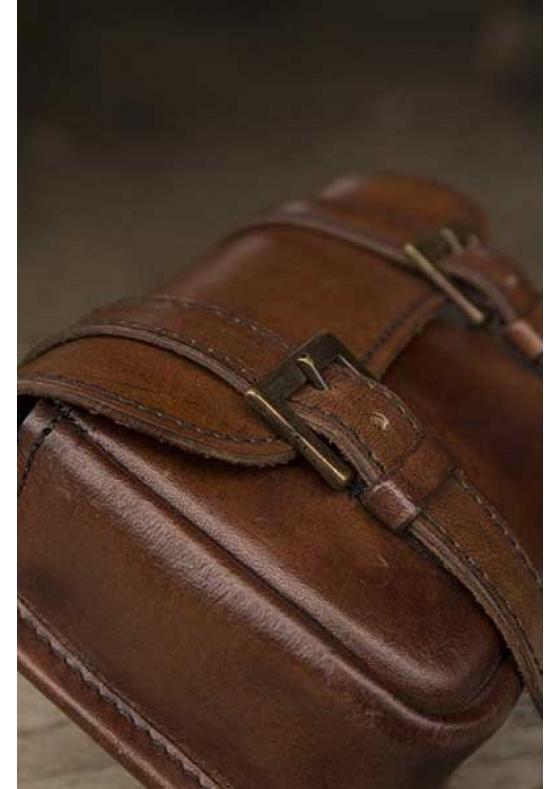 Brown Leather Warrior Bag in Leather