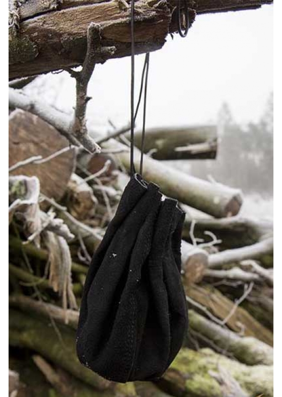 Medieval Black Leather Round Bag