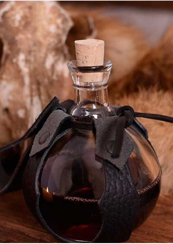 Glass Bottle with Leather Belt Support