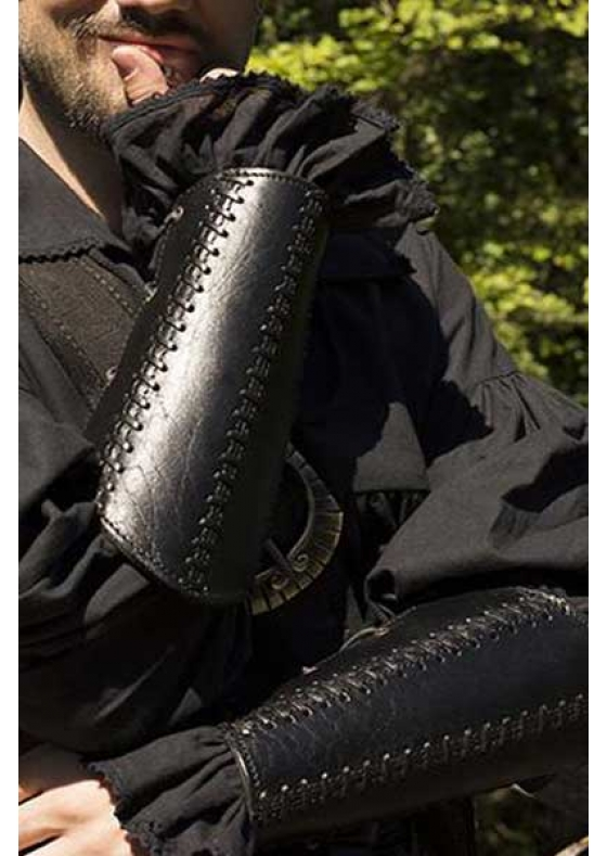 Medieval or Pirate Black Leather Bracers