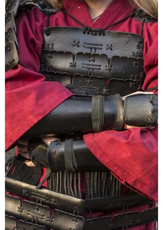 Samurai Leather Bracers Red or Black