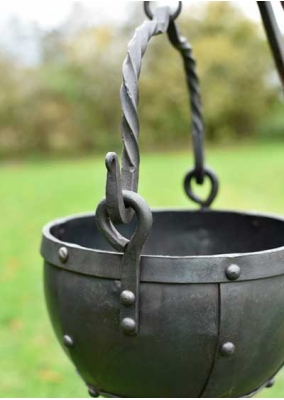 Riveted steel cauldron