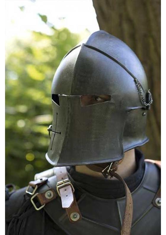 Medieval Visored Barbuta Helmet Full Functional