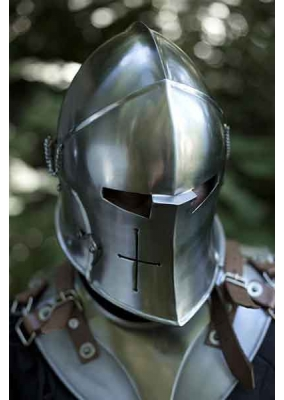 Barbuta Medieval Helmet with Visor, Polished, 100% Functional