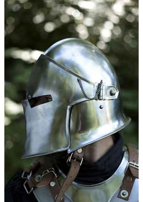 Barbuta Medieval Helmet with Visor, Polished, 100% Functional