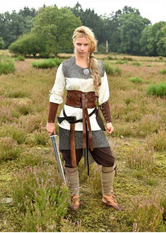 Broad Belt or Corset, Brown Leather for Larp