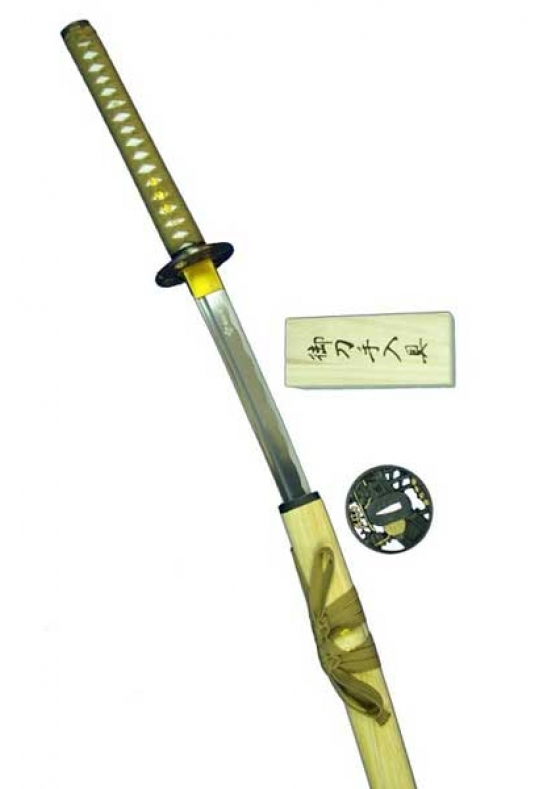 Brown Katana with 2 Tsubas, Case cover and Cleaning Kit
