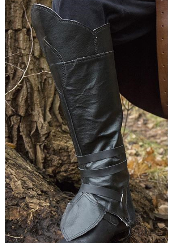 Pirate Gaiters In Black Leather